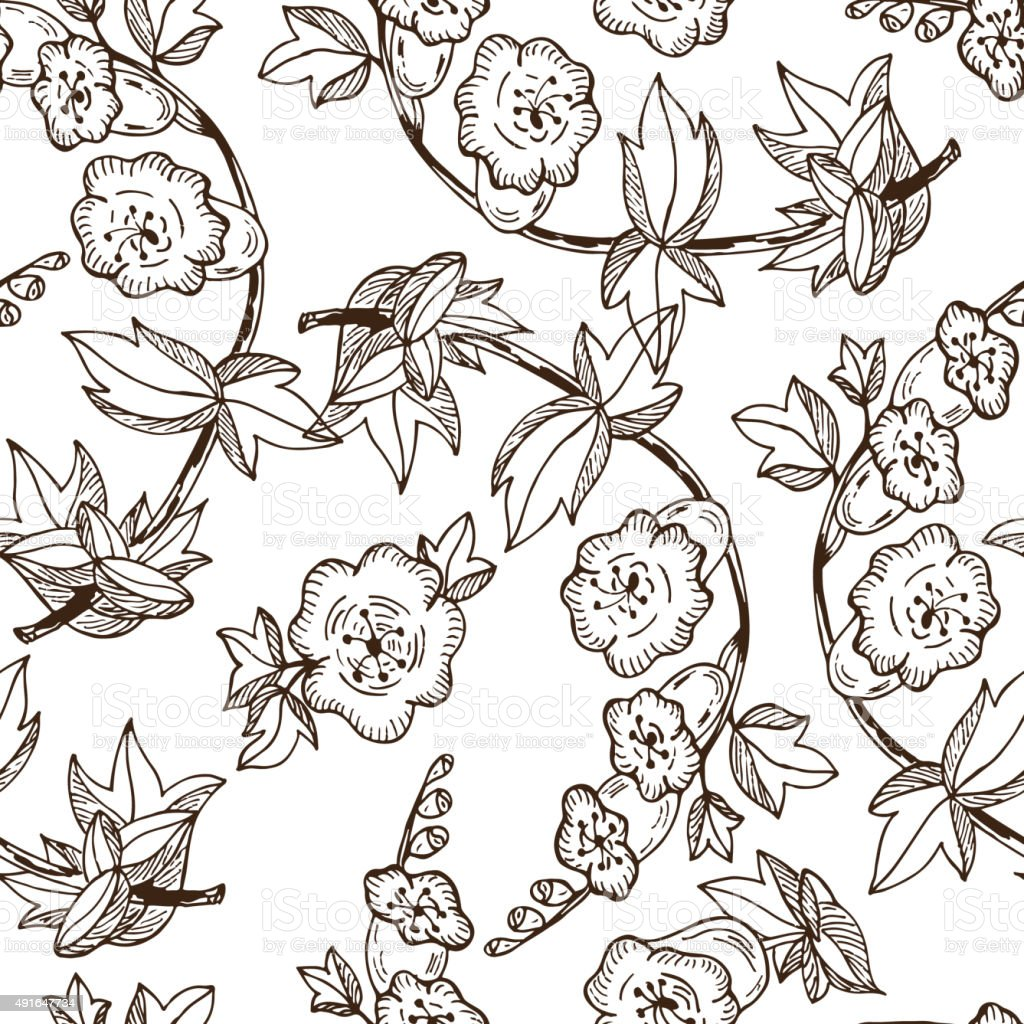 Bell Flowers Seamless Pattern With Vintage Floral Wallpaper Royalty Free Stock