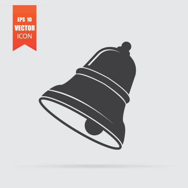 Bell icon in flat style isolated on grey background. Bell icon in flat style isolated on grey background. For your design, logo. Vector illustration. bell stock illustrations