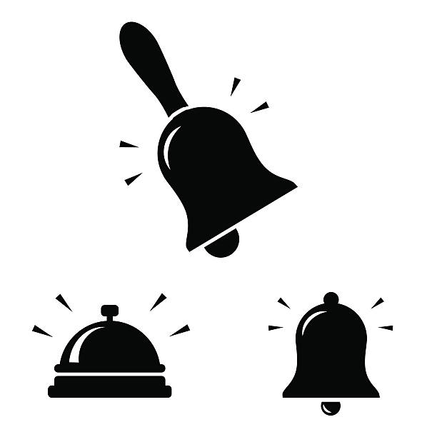 bell icon isolated on white background. - rezeptionseingang stock-grafiken, -clipart, -cartoons und -symbole