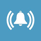 bell icon, white on the blue background