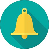 Bell icon with long shadow.