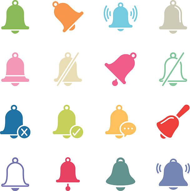 ilustrações, clipart, desenhos animados e ícones de bell icons/série de cores - ícones de festas e estações