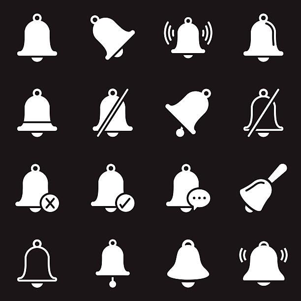 ilustrações, clipart, desenhos animados e ícones de bell icons/branco series - ícones de festas e estações