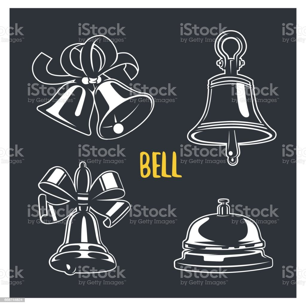 Bell illustration. Logotypes and badges. Vector logotype isolated on dark background. vector art illustration