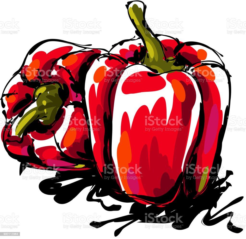 Bell pepper Drawing vector art illustration