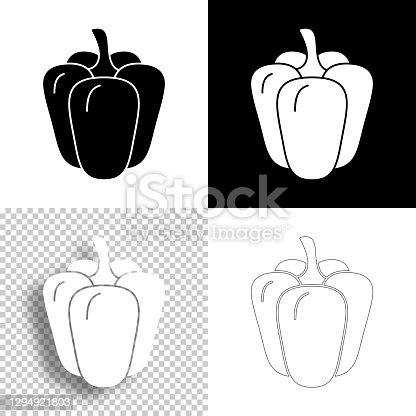 istock Bell pepper. Icon for design. Blank, white and black backgrounds - Line icon 1294921803