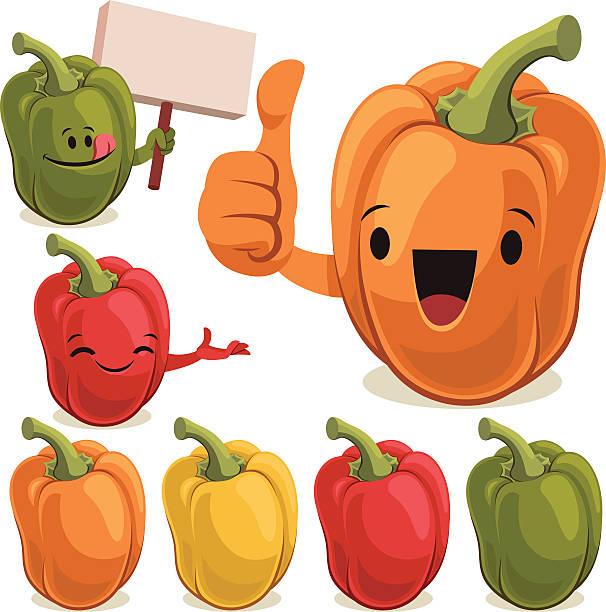 ilustrações de stock, clip art, desenhos animados e ícones de pimento definir c - red bell pepper isolated