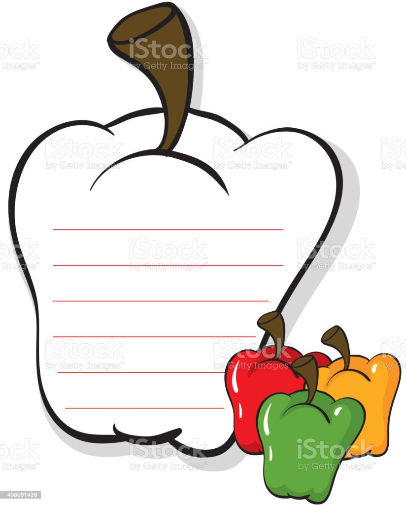 bell pepper shaped stationery royalty-free stock vector art