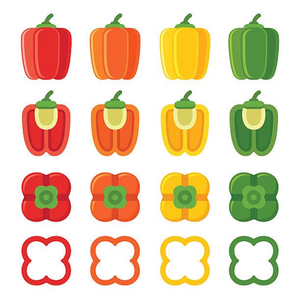 ilustrações de stock, clip art, desenhos animados e ícones de bell peppers set - red bell pepper isolated