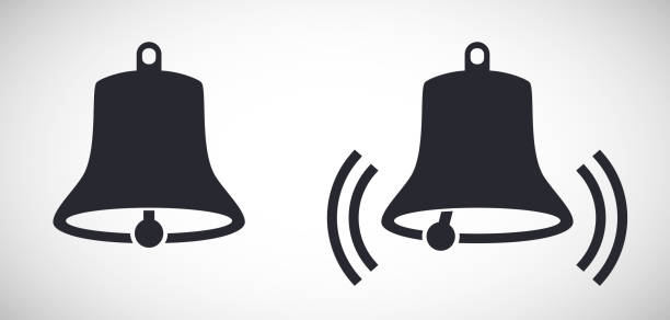stockillustraties, clipart, cartoons en iconen met bell ring pictogrammen vector illustratie pictogram - klokkentoren met luidende klokken