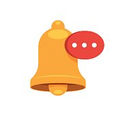 Warning Bell social media message icon. Vector illustration in flat style isolated on white background