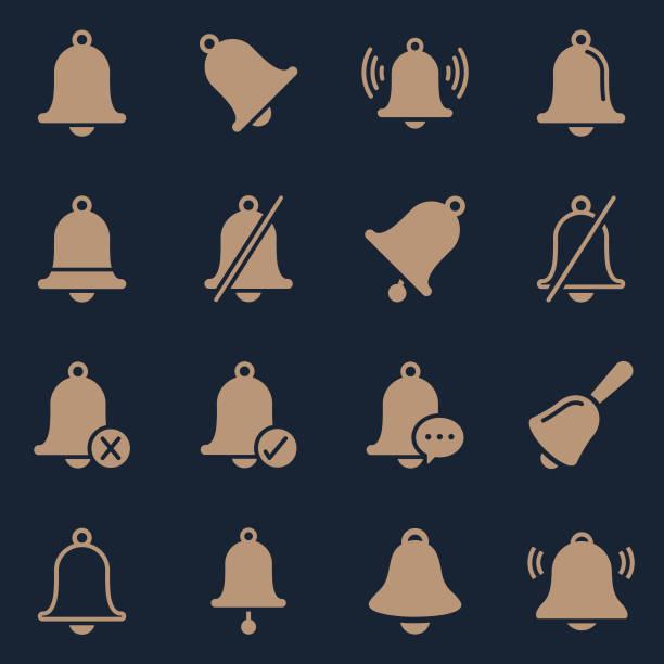 ilustrações, clipart, desenhos animados e ícones de cor de símbolos de bell - ícones de festas e estações