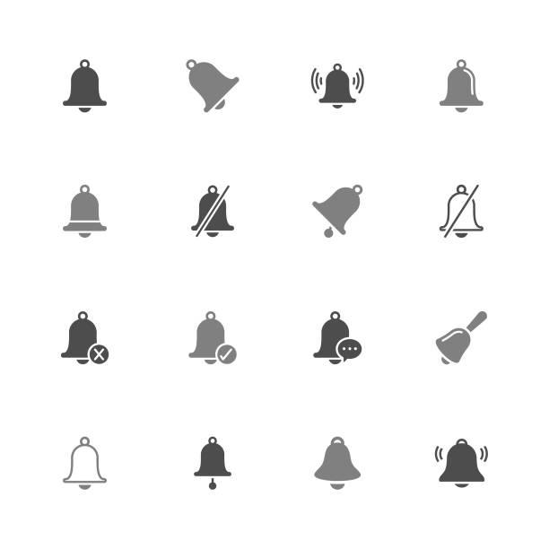 ilustrações, clipart, desenhos animados e ícones de vetor de sino - cor cinza - ícones de festas e estações