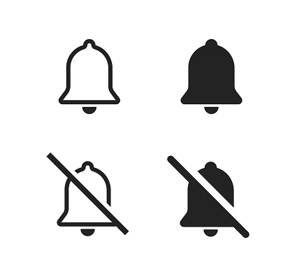 Bell web icon set. Bell alert symbol. Notification alarm, messege sign concept. Web logo, ui design, doorbell illustration in vector flat