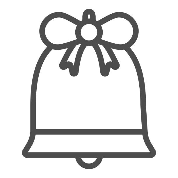 Bell with bow line and solid icon. Xmas holiday handbell outline style pictogram on white background. Christmas decoration signs for mobile concept and web design. Vector graphics. Bell with bow line and solid icon. Xmas holiday handbell outline style pictogram on white background. Christmas decoration signs for mobile concept and web design. Vector graphics winter weather clip art stock illustrations
