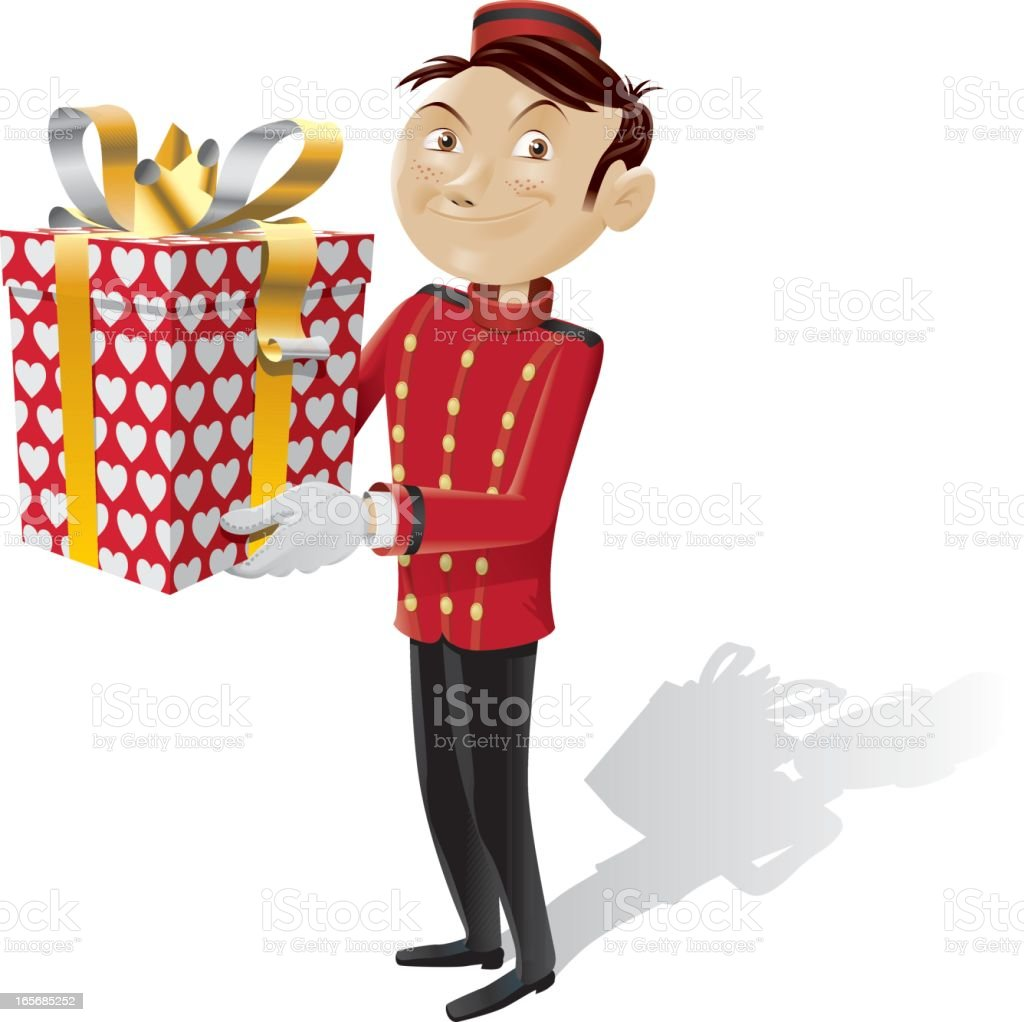bellboy brings a gift for you - isolated full picture royalty-free stock vector art