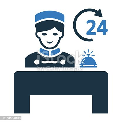 istock Bellboy, concierge, hotel, reception icon. Simple vector on isolated white background 1270584898