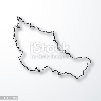 istock Belle-Ile-en-Mer map - Black outline with shadow on white background 1318171155