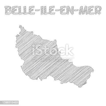istock Belle-Ile-en-Mer map hand drawn on white background 1288315453