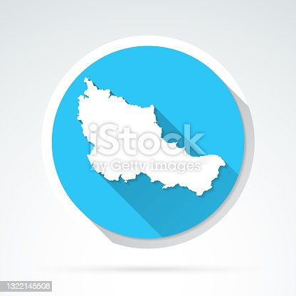 istock Belle-Ile-en-Mer map icon - Flat Design with Long Shadow 1322145508