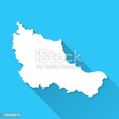 istock Belle-Ile-en-Mer map with long shadow on blue background - Flat Design 1285669573