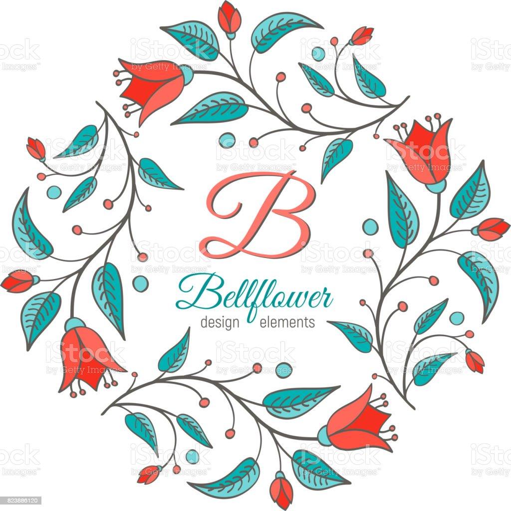 Bellflower Floral Element Wedding Design Stock Vector Art 823886120