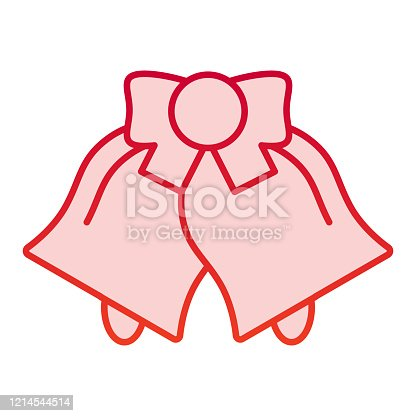 istock Bells color icon. Two jingle bell with ribbon symbol, gradient style pictogram on white background. Christmas or holiday item sign for mobile concept and web design. Vector graphics. 1214544514
