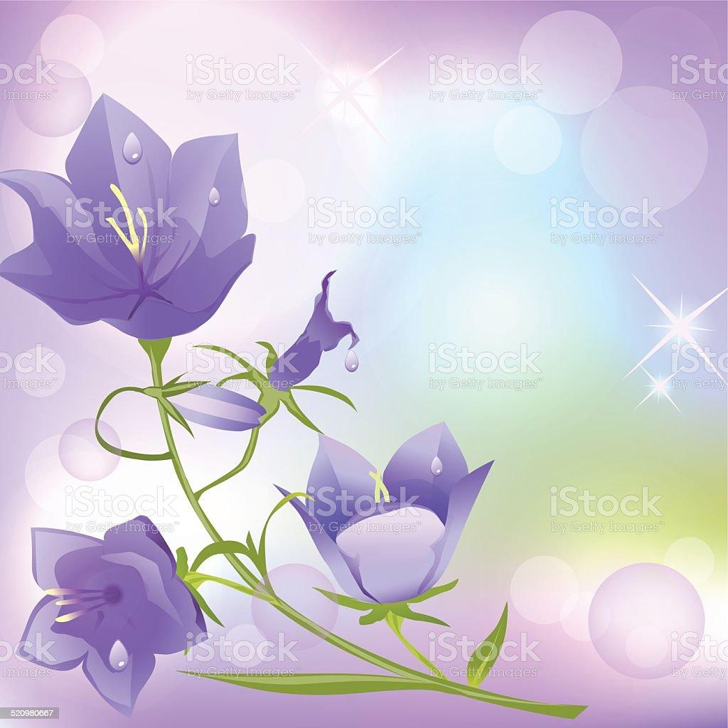 bells flowers vector art illustration