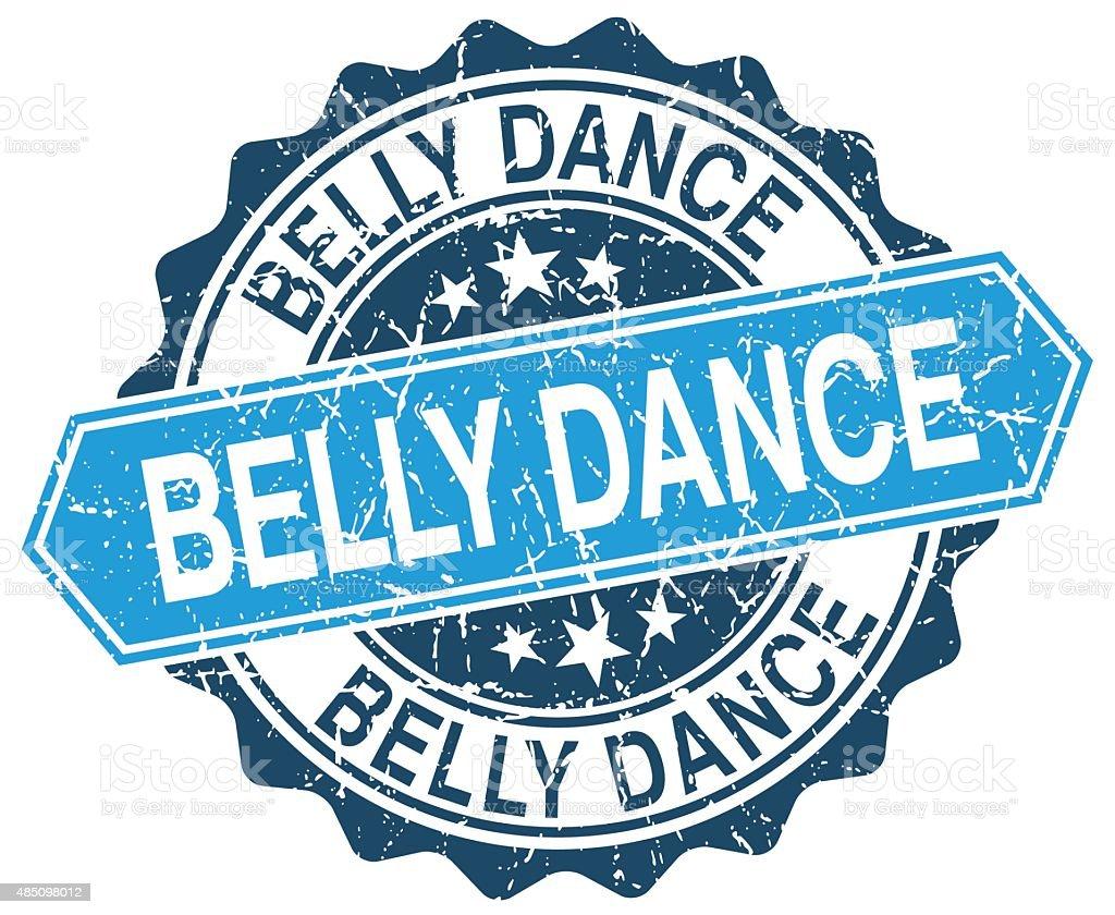 belly dance blue round grunge stamp on white vector art illustration