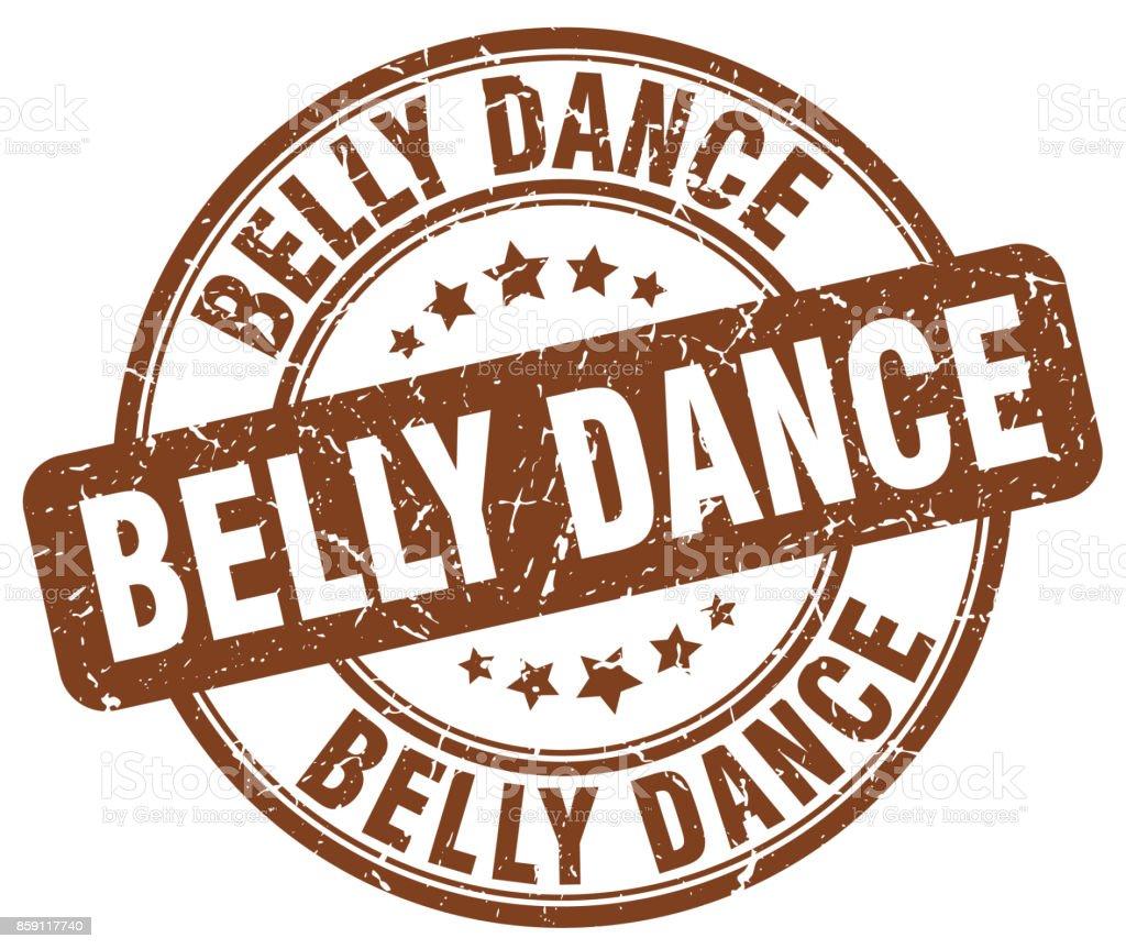 belly dance brown grunge round vintage rubber stamp vector art illustration