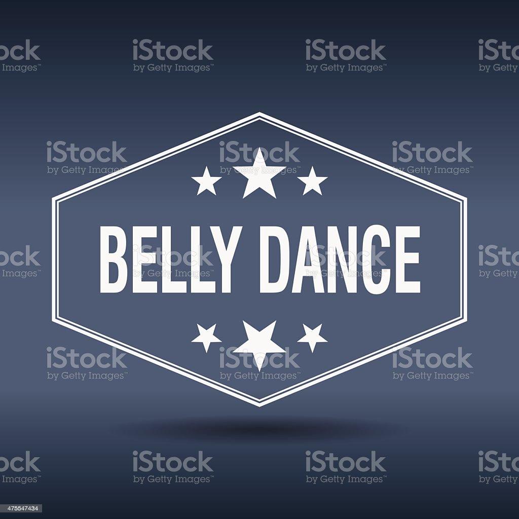 belly dance hexagonal white vintage retro style label vector art illustration