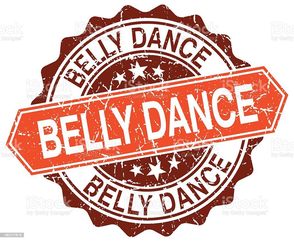 belly dance orange round grunge stamp on white vector art illustration