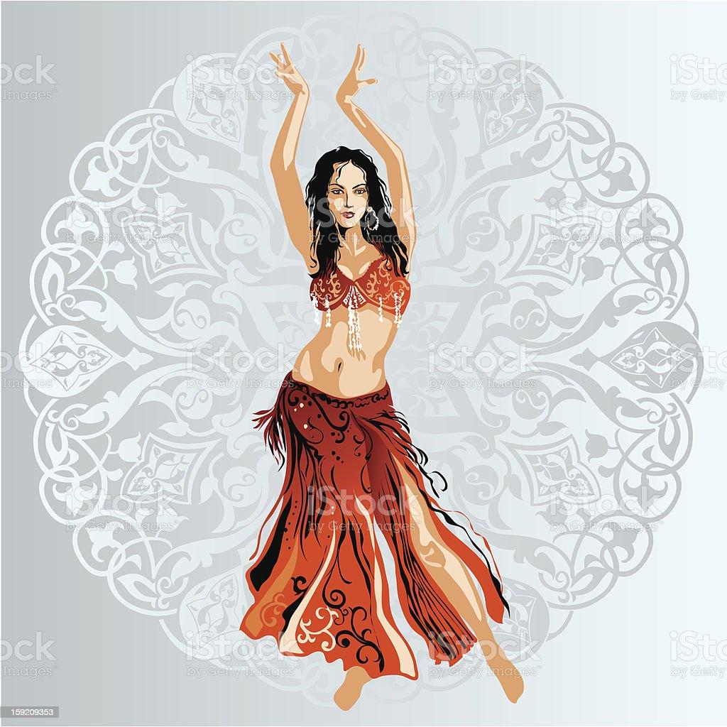 belly dance vector art illustration
