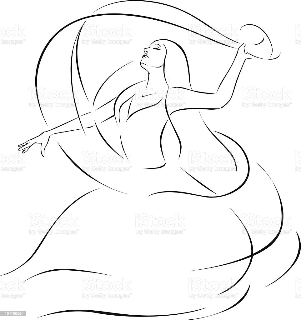 belly dancer illustration vector art illustration