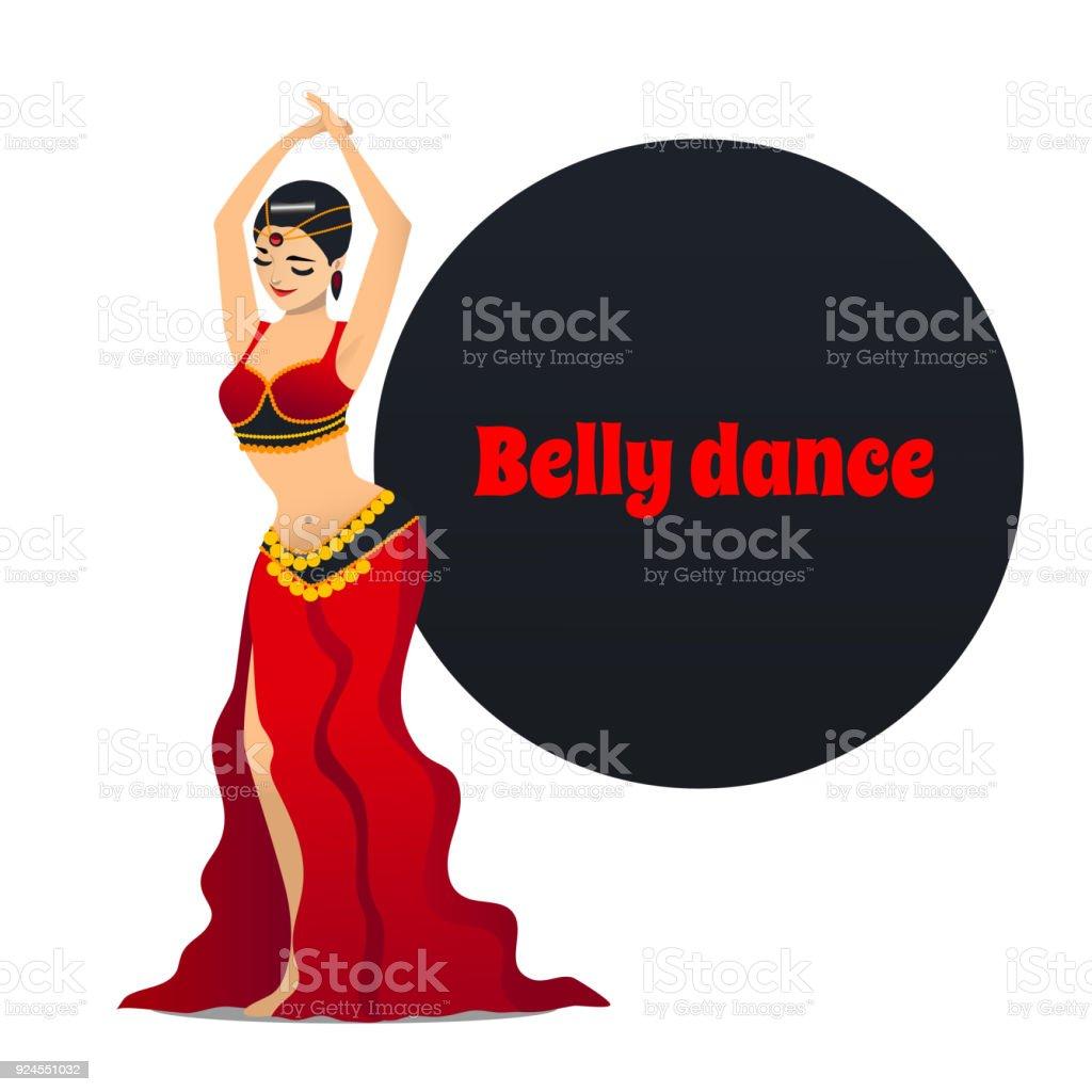 Belly Dancer in Cartoon Style vector art illustration