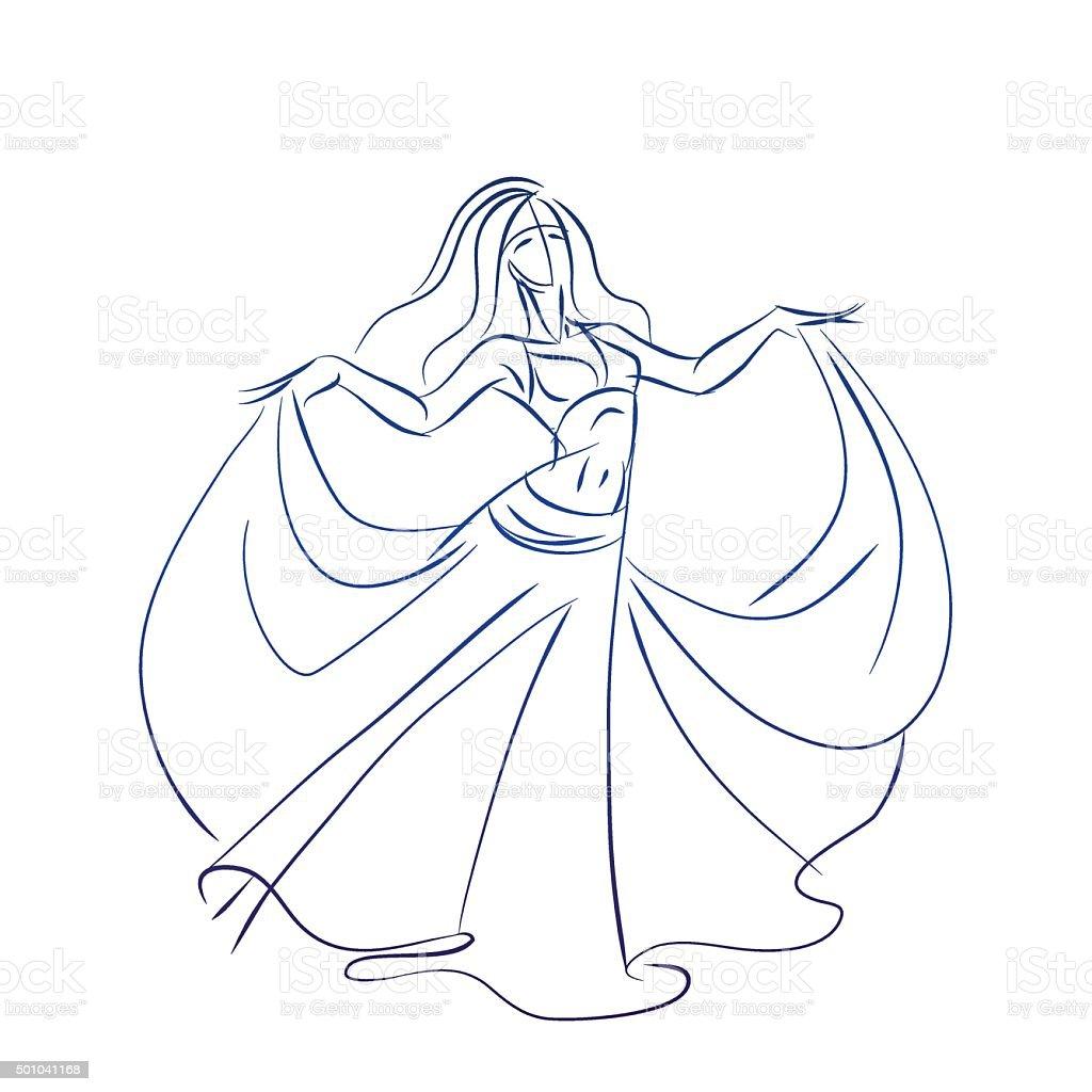 belly dancer ink sketch gesture drawing vector art illustration