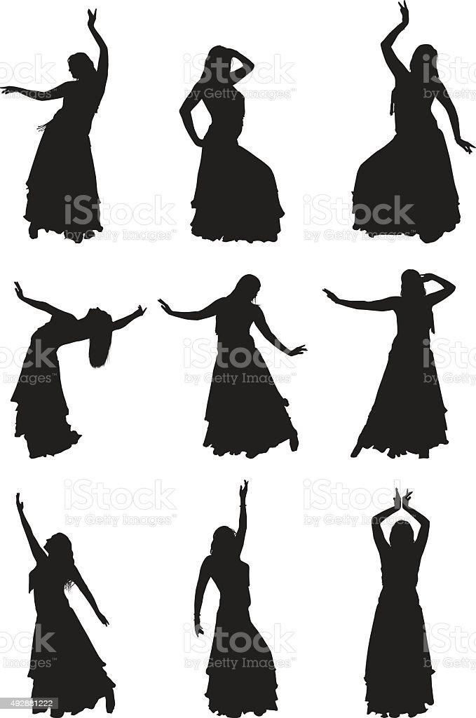 Belly Dancer Silhouettes vector art illustration