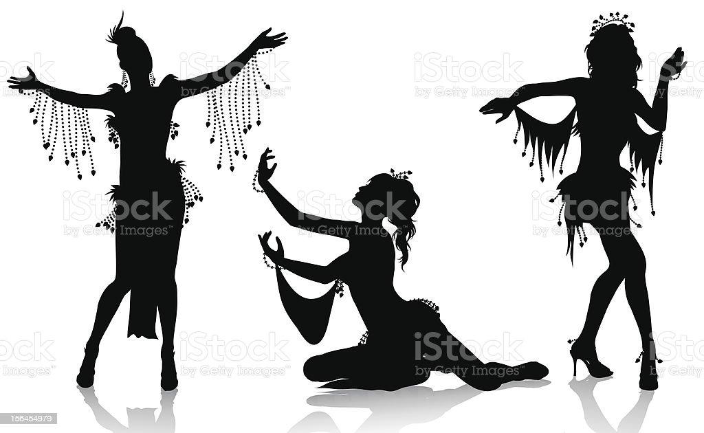 Belly dancers vector art illustration