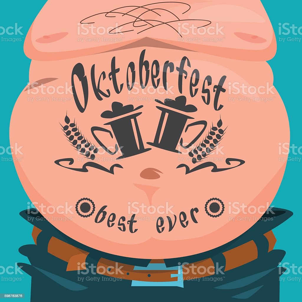 Belly Tattoo Oktoberfest Festival Banner vector art illustration