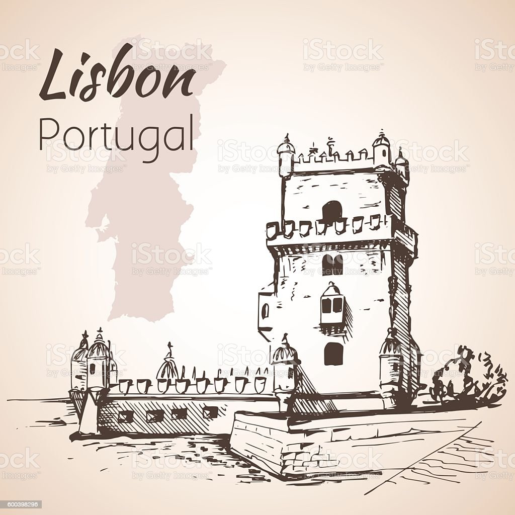 Belém Tower or the Tower of St Vincent. Lisbon. Portugal vector art illustration