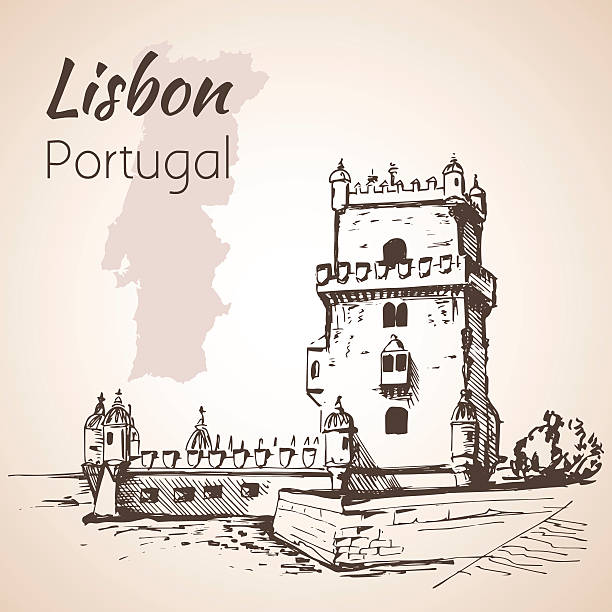 belém tower or the tower of st vincent. lisbon. portugal - lizbona stock illustrations