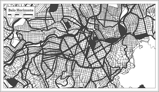 Belo Horizonte Brazil City Map in Black and White Color in Retro Style. Outline Map.