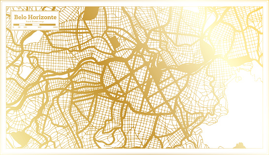 Belo Horizonte Brazil City Map in Retro Style in Golden Color. Outline Map.