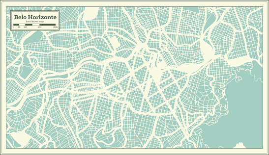 Belo Horizonte Brazil City Map in Retro Style. Outline Map.