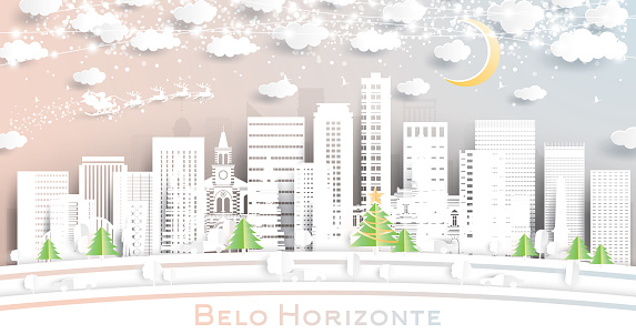 Belo Horizonte Brazil City Skyline in Paper Cut Style with Snowflakes, Moon and Neon Garland.