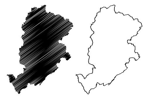 Belo Horizonte City (Federative Republic of Brazil, Minas Gerais State) map vector illustration, scribble sketch City of Belo Horizonte map