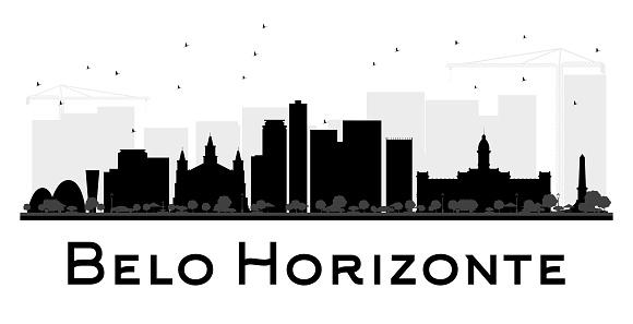 Belo Horizonte City skyline black and white silhouette.