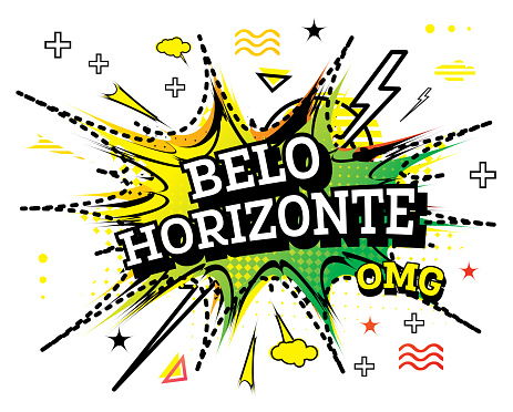 Belo Horizonte Comic Text in Pop Art Style Isolated on White Background.