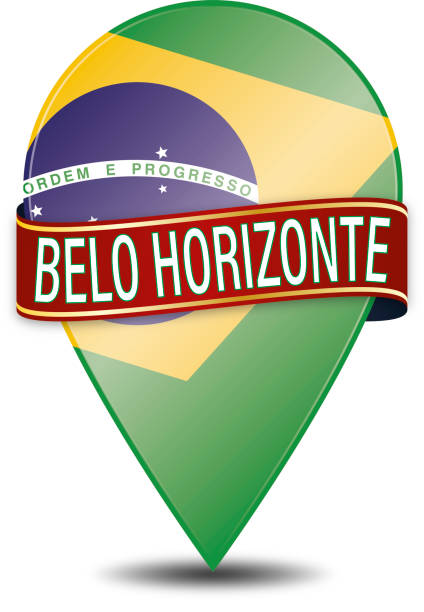 belo horizonte web navigatiion pin on white background vector art illustration