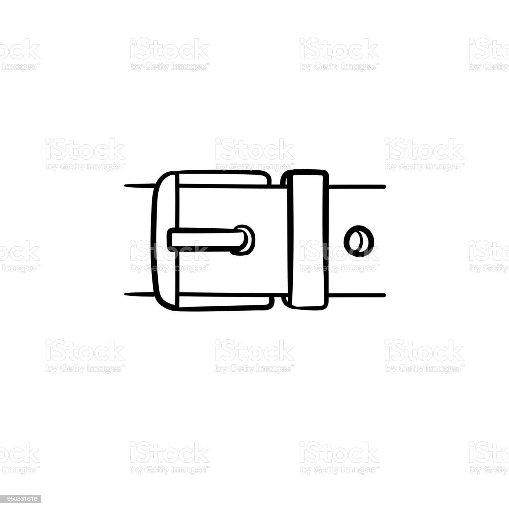 Belt buckle hand drawn sketch icon vector art illustration